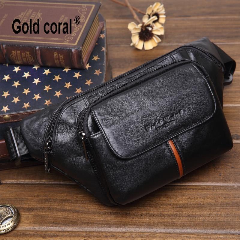 New arrival genuine leather men waist pack casual  travel waist bag for men fashion male shoulder messenger bag chest  bag