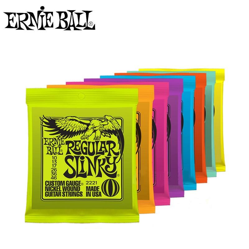 Ernie Ball cuerdas de guitarra eléctrica jugar Real de Rock Heavy Metal 2215, 2220, 2221, 2222, 2223, 2225, 2626, 2627 piezas de instrumentos musicales