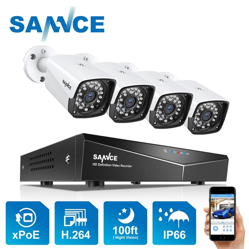 4ch xpoe 2mp kit sistema de câmera segurança 4 pçs 1080 p bala câmera ip ao ar livre à prova dnvr água vigilância vídeo nvr conjunto ip66 sannce