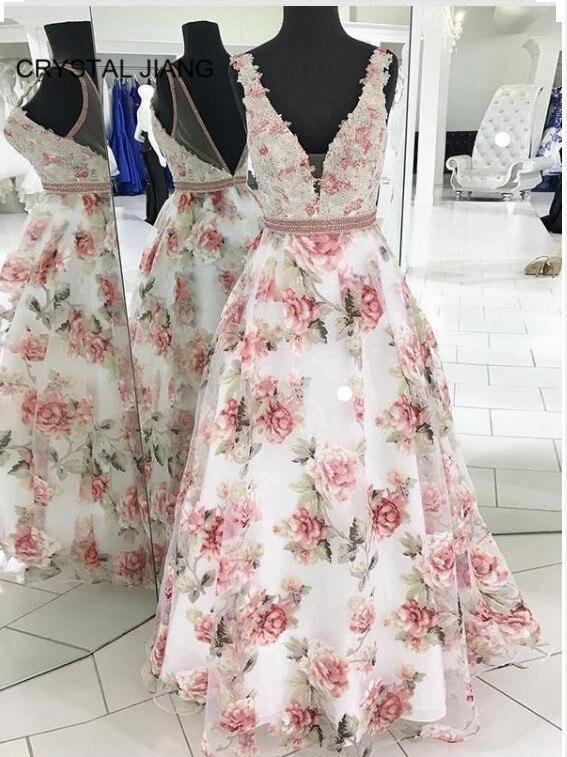 Vestido largo 2020 vestidos formales cuello en V largo Apliques de encaje con cuentas hecho A medida una línea de longitud del piso Sexy vestidos de graduación florales