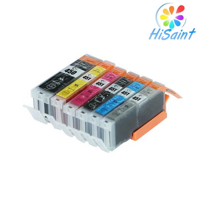 Hisaint 6PK para Canon CLI-451XL PGI-450XL Kompatibel Tintenpatrone para Canon PIXMA IP7240/MG-5440/5540 drucker Kostenloser