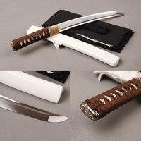שי ג 'יאן חד סמוראי Tanto חרב יפנית 1060 פלדת פחמן מלא טאנג קצר קרב חרב חריץ דם סמוראי קוספליי חרב