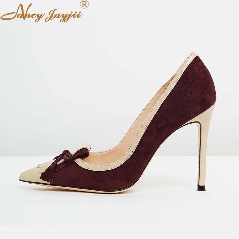 أحذية حريمي حريمي أنيقة بكعب عالي ورقيق للغاية على شكل فراشة عقدة أساسية صلبة أحذية حريمي بطرف مدبب ماركة Nancyjayjii 2021
