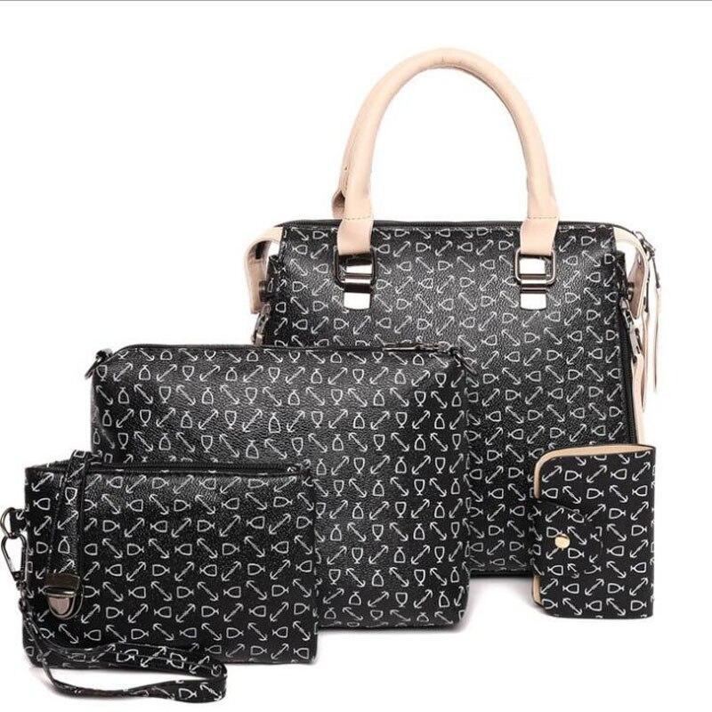 Women Bag Set Top-Handle Big Capacity Female Tassel Handbag Fashion Shoulder Purse Ladies PU Leather Crossbody