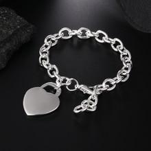 Bracelet coeur en argent bijoux mode pour femmes fille joli Bracelet couleur argent, cadeau de noël saint valentin JSHH268