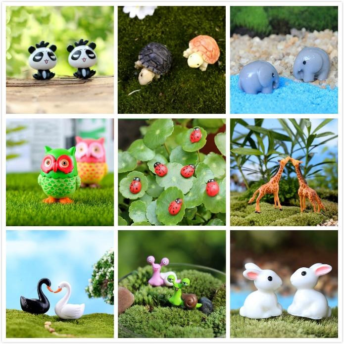 Resin Animals Rabbit Duck miniatures figurines Mini Craft Figurine Plant Pot Garden Ornament Miniature fairy garden supplies