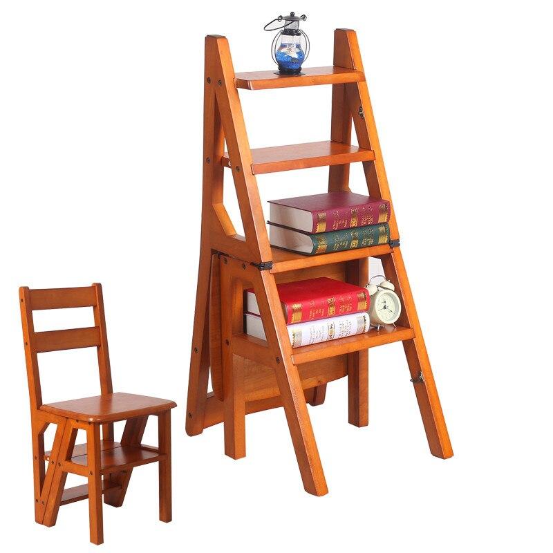 قابلة للتحويل متعددة الوظائف أربع خطوات مكتبة سلم كرسي في 3 لون أثاث مكتبة للطي الخشب كرسي درجة سلم للمنزل