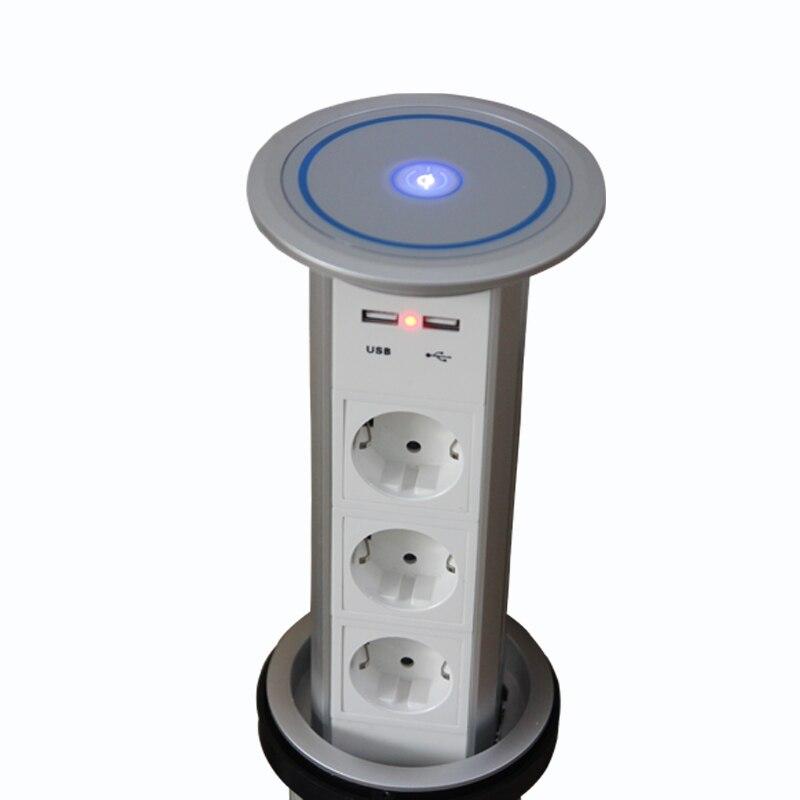 2019 inteligente motorizado Pop Up Power Outlet 2 * toma de corriente + 1 carga USB estante de aluminio para Alemania Estados Unidos Canadá Japón UAE SA