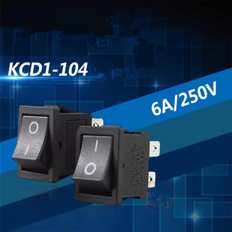 5 pces sc054 interruptor de botão preto 4 pinos ligar/desligar interruptor de balancim KCD1-104 vde cobre pino interruptor de alimentação 6a 250v vender em uma perda