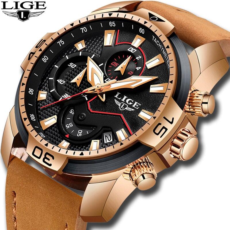 Lige relógio masculino, marca de luxo, couro casual, quartzo, relógio masculino, esportivo, à prova d água, novo, 2020