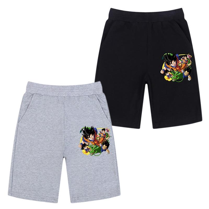 Novedad de verano en pantalones cortos para niños, pantalones cortos informales a la moda con estampado de Dragon Ball Son, pantalones de chándal de Goku, pantalones cortos para correr de 3 a 14 años