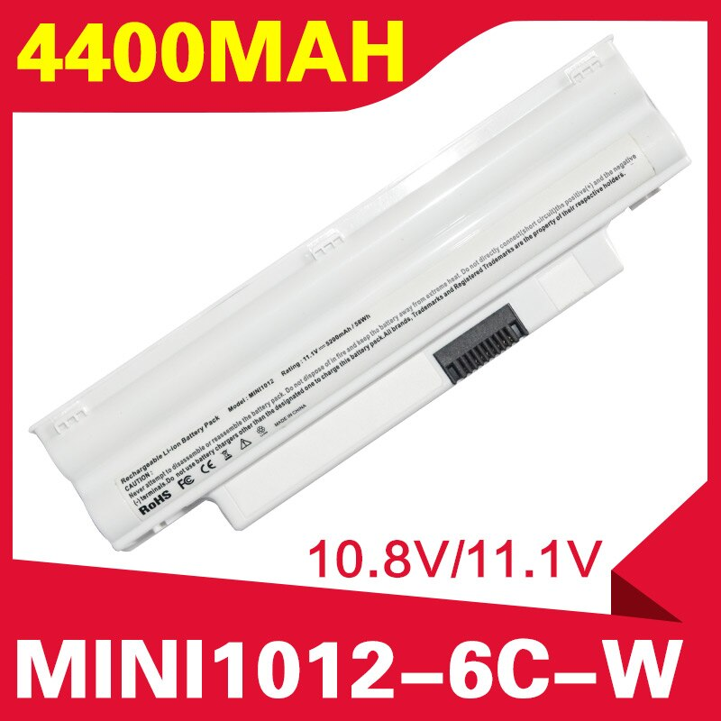 ApexWay White 4400mAh laptop battery for dell Inspiron Mini 1012 1018 2T6K2 312-0967 854TJ CMP3D NJ644 312-0966 3K4T8 8PY7N
