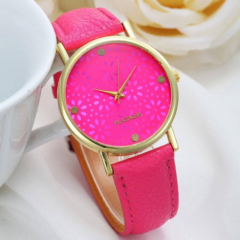Relojes para mujer, correa de cuero, reloj de pulsera de cuarzo informal Barato, moda femenina, reloj de copo de nieve