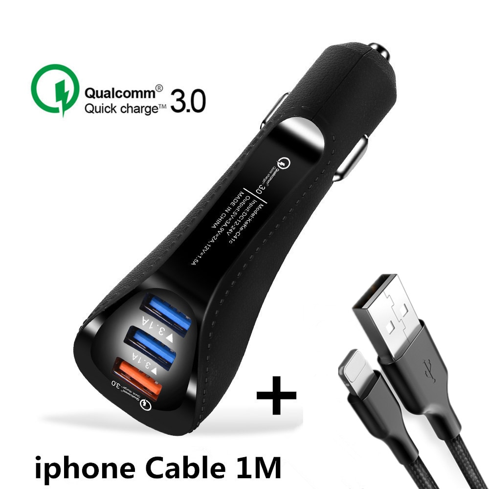 20 piezas de carga rápida 3,0 Dual USB cargador de coche 3 puertos 3.1A + Cable USB tipo C cargador rápido adaptador para Samsung Xiaomi iPhone