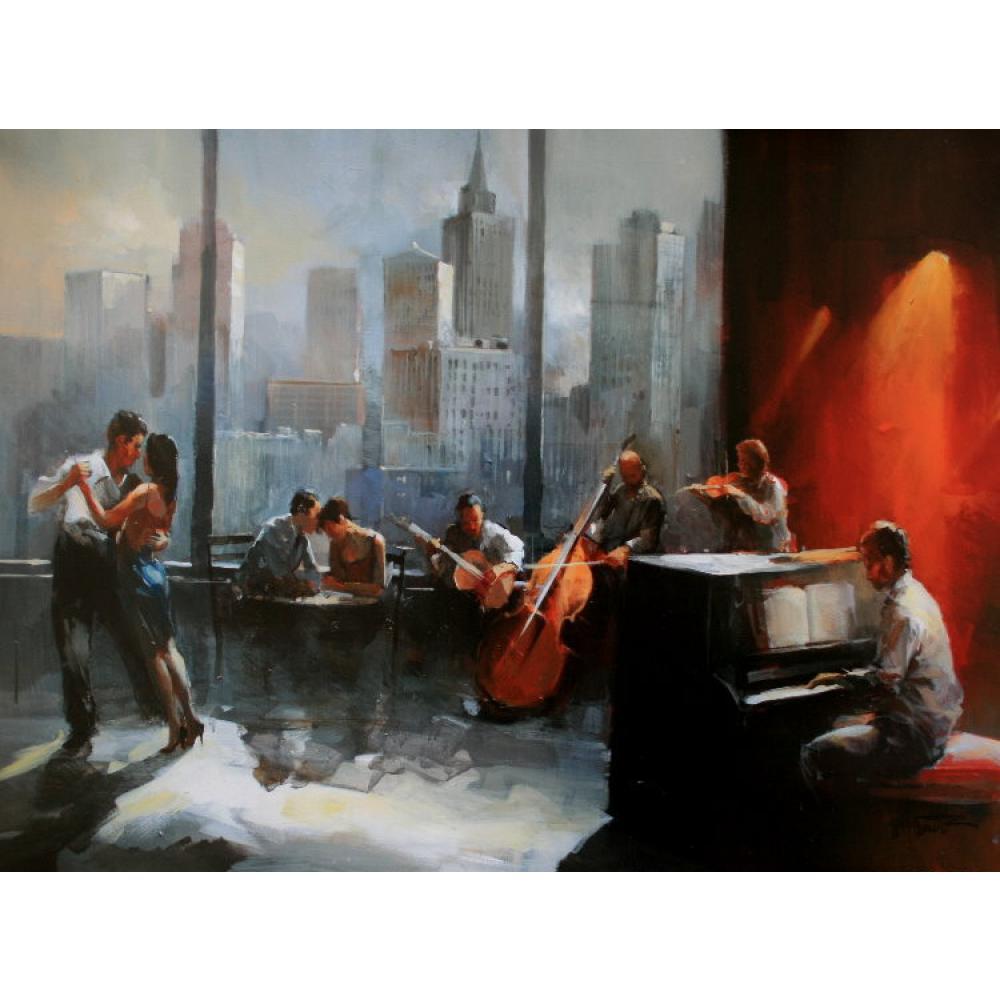 Pintura al óleo Willem Haenraets de vista de sala de música de paisaje urbano de lienzo moderno para sala de estar pintado a mano de alta calidad