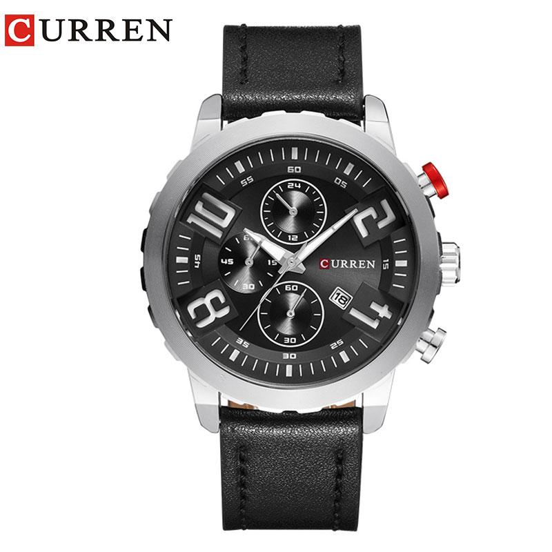 2019 relojes Curren para hombre, marca superior, correa de cuero de vaca de lujo, relojes de cuarzo, relojes deportivos para hombre, reloj resistente al agua, reloj hereno hodinky