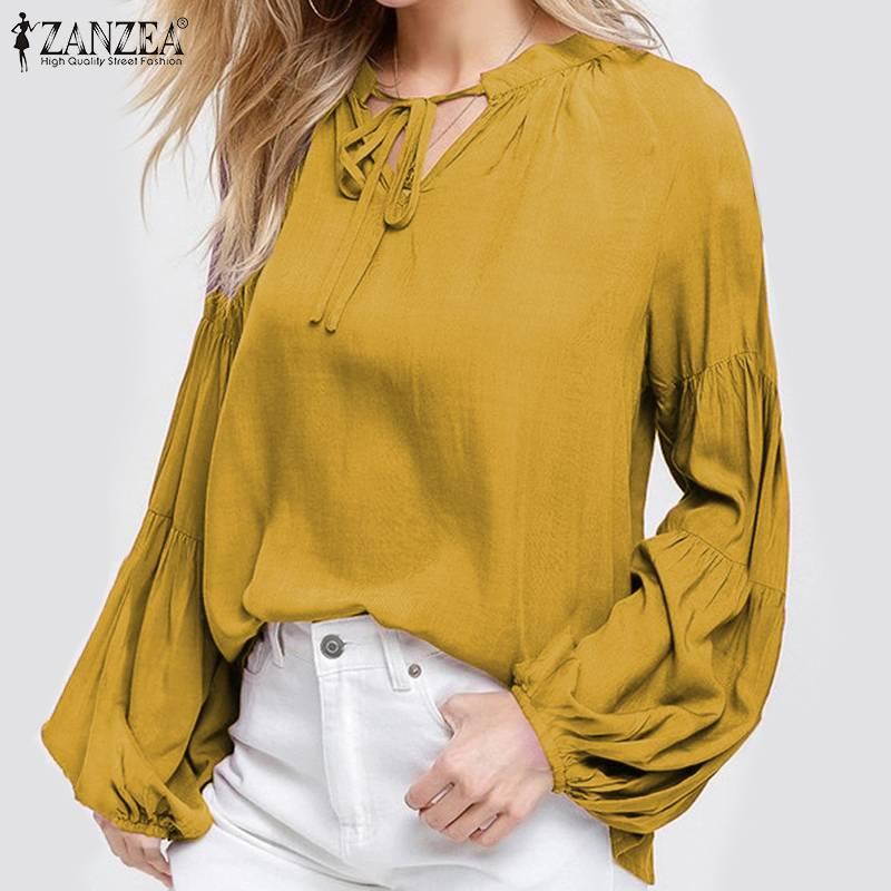 Elegante camisa de trabajo ZANZEA de talla grande 2020, blusa con manga de linterna y cuello en V, informal, para mujer, para otoño
