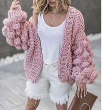 2020 Autumn Winter women sweater ball lantern sleeved cardigans female knitting pull Coarse lazy cadigans women sweater jumper