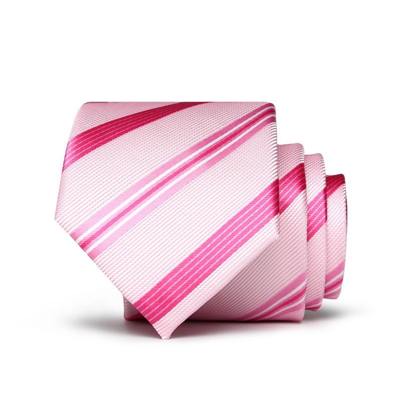 2018 hot sale 7cm neck ties for men pink striped 7 cm wedding accessories slim fashionable neckties man Party Business Formal