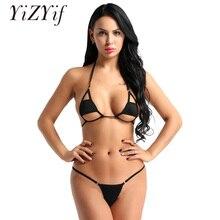 YiZYiF femmes Sexy licou cou Bikini natation Costumes ensemble de Lingerie Micro Bikini soutien-gorge haut avec slips bas maillot de bain maillots de bain