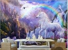 Papier peint photo mural 3d personnalisé   Papier peint mural 3d, cascade arc-en-ciel bleu, cheval blanc, peintures de paysage, papier peint 3d