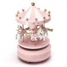Ahşap Merry-Go-Round atlıkarınca müzik kutusu çocuklar için oyuncaklar düğün doğum günü hediye rüzgar Up at fuar alanı müzik kutusu