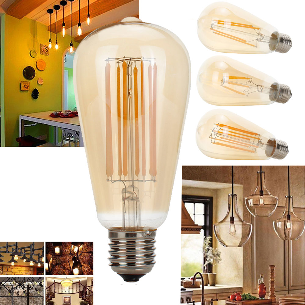 Bombilla Led Edison E27 ST64 6W, Bombilla Led de filamento Vintage no...