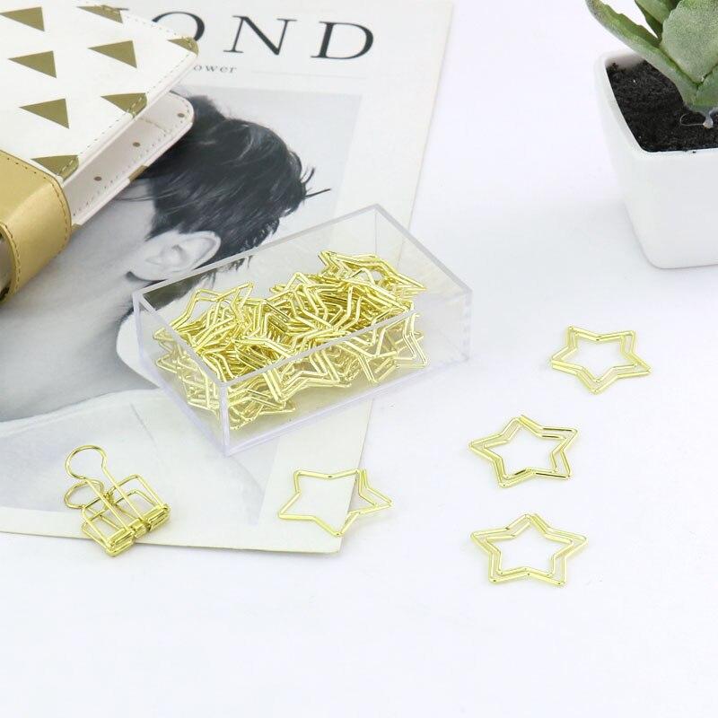 30 pièces/boîte en métal doré trombones étoile forme mode mémo Clips signets papeterie accessoires de bureau fournitures scolaires