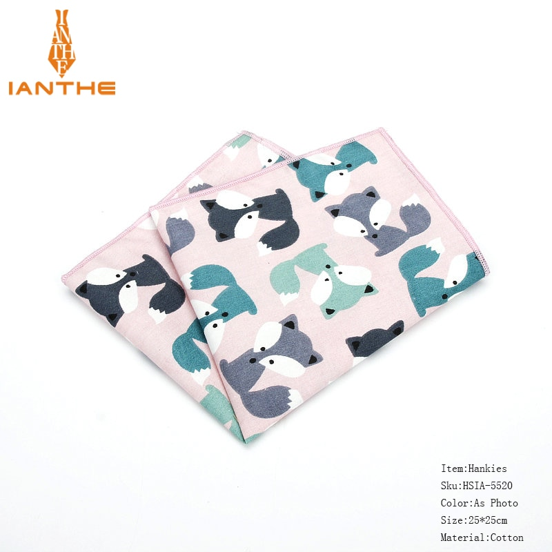 25*25cm Brand New Men's 100% Cotton Animals Handkerchief For Man Star Bear Print Pocket Square Chest Towel Suits Hankies