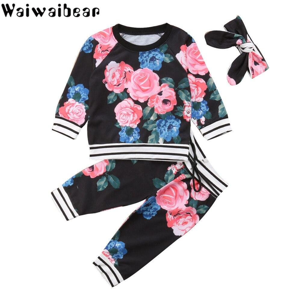 Комплекты для новорожденных, малышей Новые весенние повседневные комплекты для маленьких девочек топ с длинными рукавами + штаны комплекты...