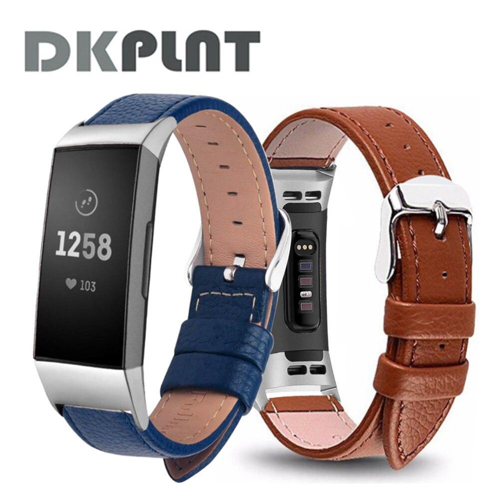Pulseira de couro preto para fitbit charge 3/4, acessório para substituição para fitbit charge 4, bracelete inteligente