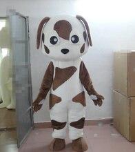 Leuke Witte Dalmatische Gespot Vlekkerige Hond Shiba Inu Puppy Doggie Pup Leuke Mascotte Kostuum Met Lange Zwarte Ogen Spot