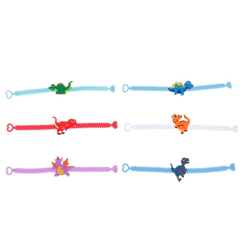 6pcs Rubber Dinosaur Wristband Bangle Bracelets Kids Birthday Gifts Party Decorations Jungle Party Decoration Supplies
