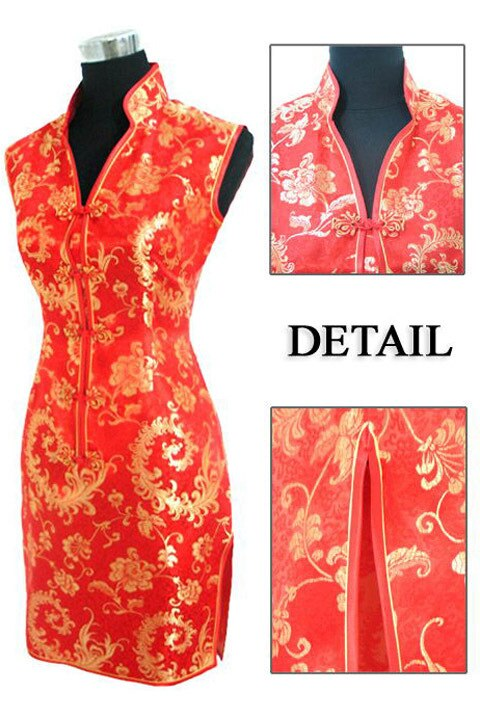 Chinese tradition Ladies Cheongsam Qipao Wedding Mini Club Summer Dress