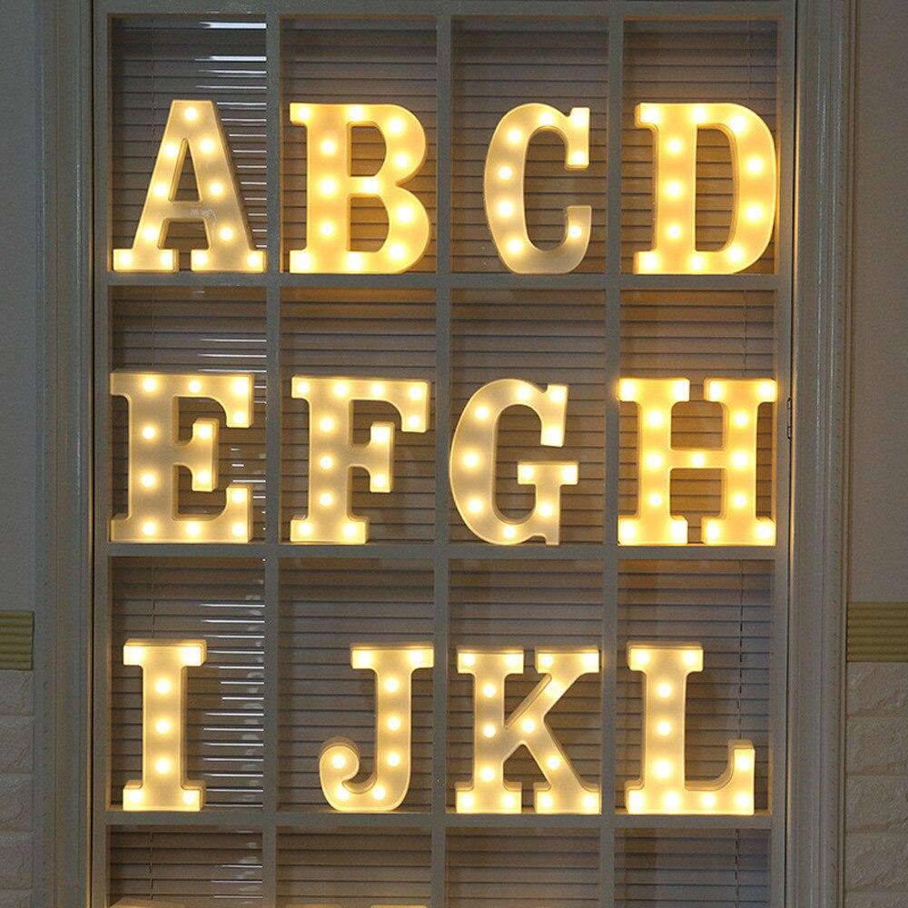 Alfabeto letra de luz LED romántica para boda, lámpara de pie letra, luces, amor de San Valentín de plástico blanco, regalos para novia