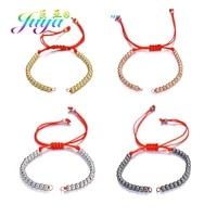 juya diy bracelet making components copper beads adjustable black red thread chains accessories for women men bracelets making