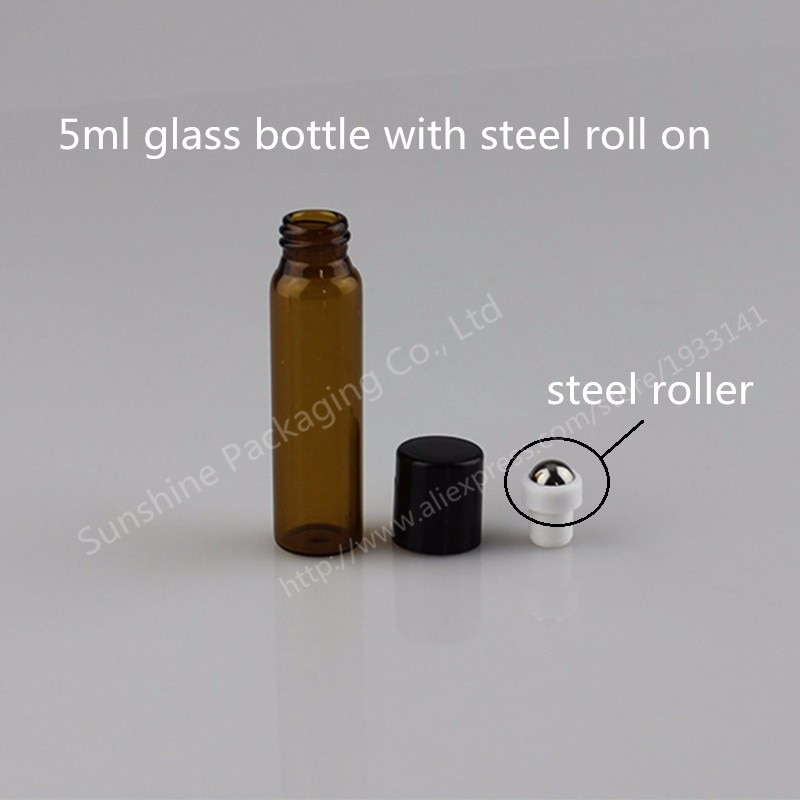 1pcs 5ml amber roll on roller bottles for essential oils roll-on refillable perfume bottle deodorant containers with black lid