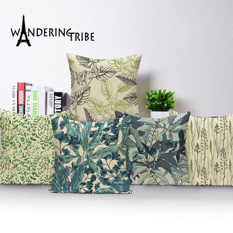 Vert oreillers couvre plantes tropicales feuilles lin housse de coussin 45*45 ferme décor à la maison salon coussins taie doreiller 45*45
