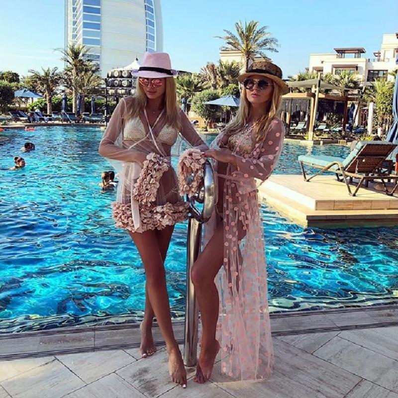 Pink Polka Dots Bikini Cover up Swimwear Women Mesh See Through Long Cardigan Pareo Beach Dress Kaftan Chiffon Playa