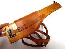 WWII WW2 alemán Mauser Broomhandle Funda de cuero y madera Stock alemán Militaria de alta calidad