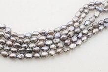 Perle deau douce baroque 7-9mm gris FPPJ 14 pouces perles en gros nature perles en vrac pour bijoux à bricoler soi-même