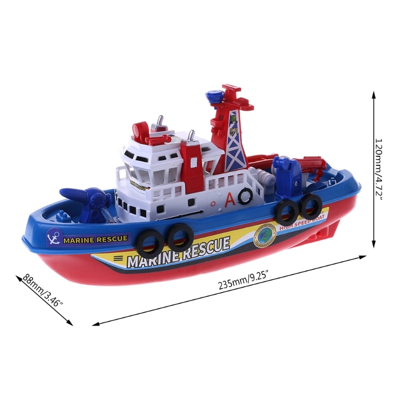 Fast Speed Music Light Electric Marine Rescue Fire Fighting Boat Toy  for Kids enlarge