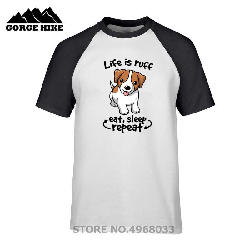 Impresionante camiseta de hombre Impresión Digital Life is ruff dog kawaii jack russell terrier comer sueño repetir negro Camiseta de algodón camiseta