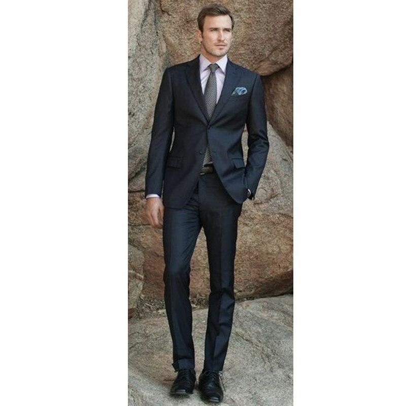 Custom Made Classic Charcoal Men Suit Blazers Gentleman Style Tailor Made Slim Fit Wedding Suits Men 2 Pcs(Jacket+Pants) L650