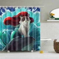 Pieces de douche etanche pour salle de bain  motif sirene  pour baignoire  en Polyester Opaque  avec 12 crochets