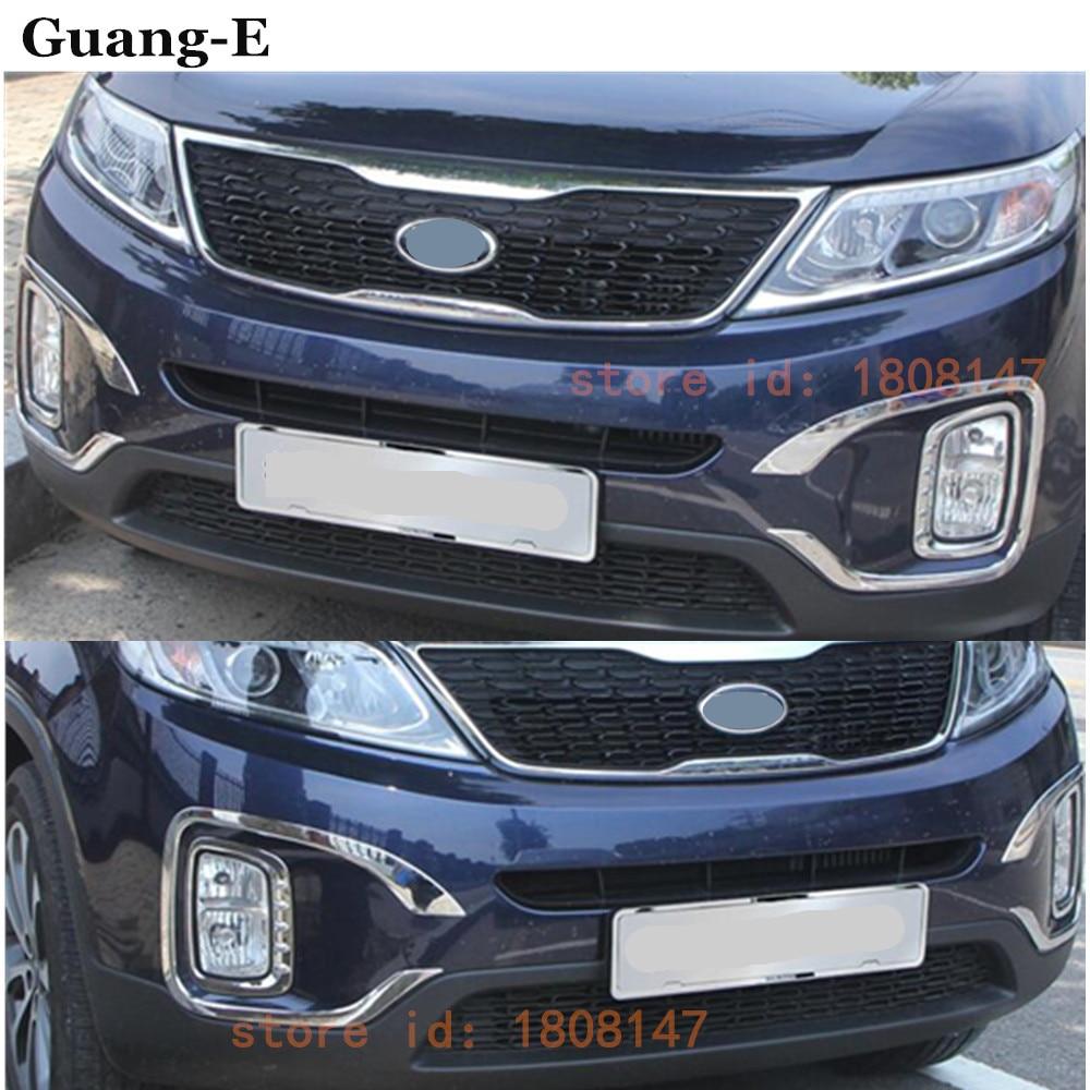 High Quality For Kia Sorento 2013-2014 Car Body Front Fog Light Lamp Detector Frame ABS Chrome Trim Sticks Parts 4pcs