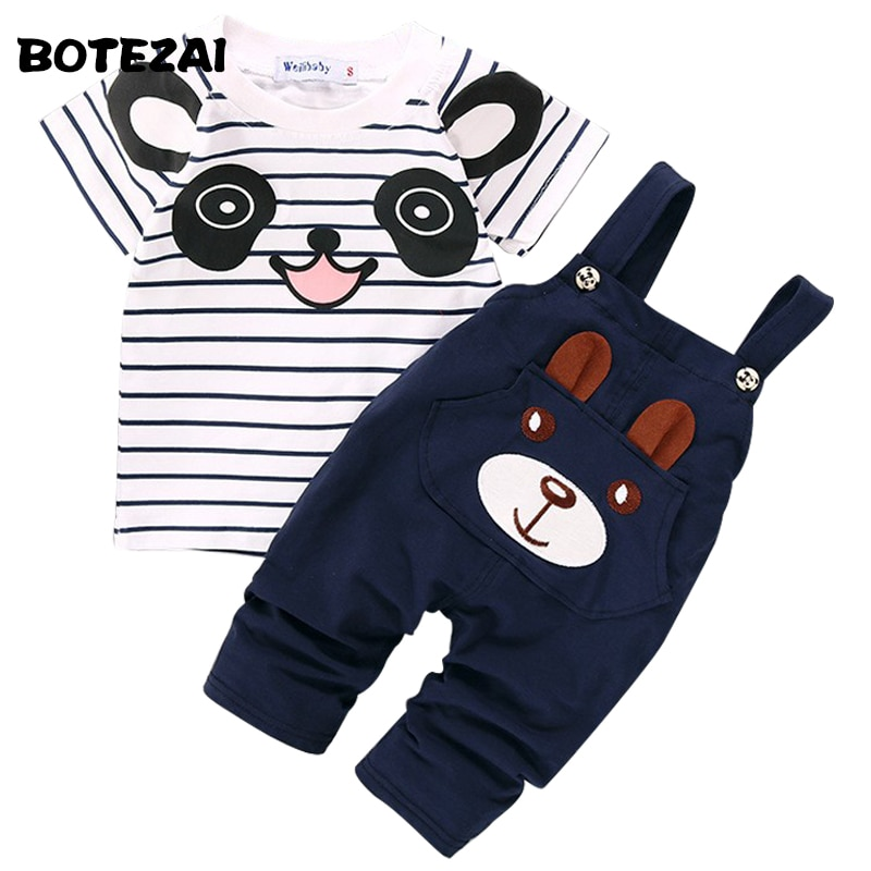 2017 Summer Toddler Boys Clothing Set Cartoon Panda Baby Boys Short-sleeve T-shirt+Bib Pants 2pcs Set Kids Clothes for 1-4Y