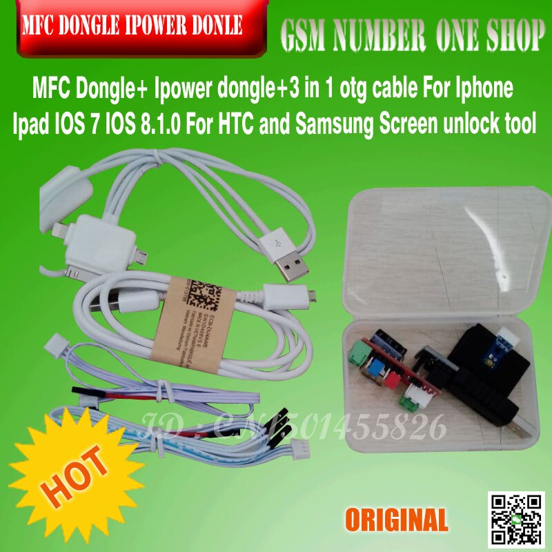 Review Mfc dongle/box Ipower dongle+3 in 1 otg cable For Iphone Ipad IOS 7 IOS 8.1.0 For HTC For Samsung Screen Touch ID free shipping