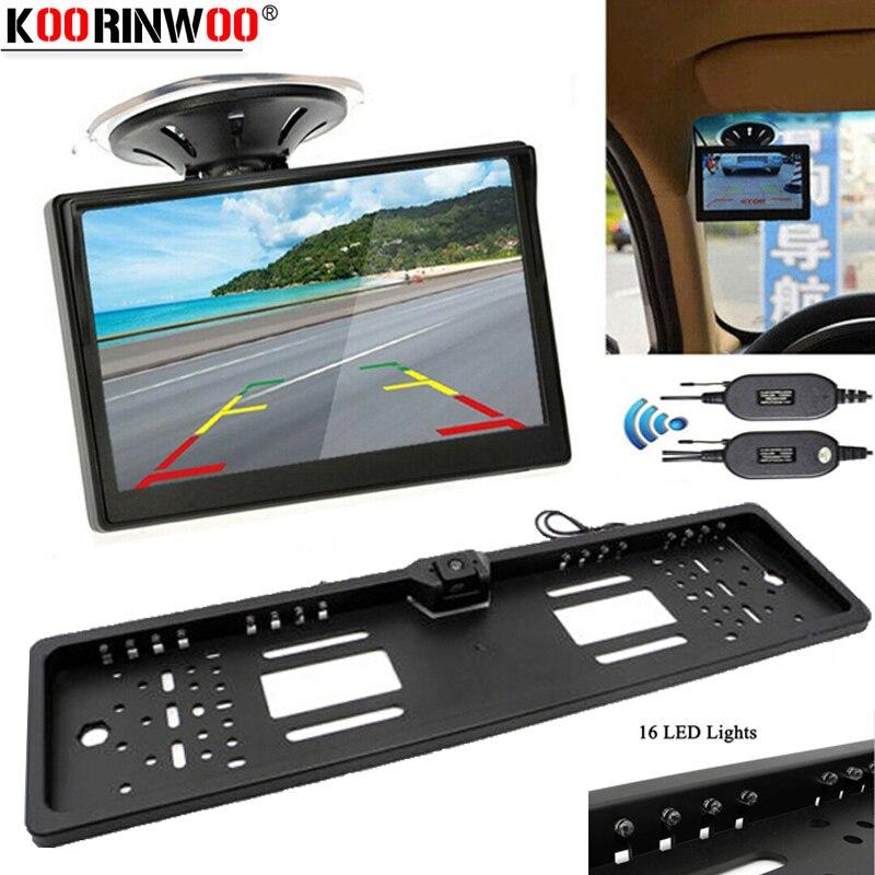 Koorinwoo 2,4G adoptar marco para matrícula de la UE espejo retrovisor Cámara del maletero con Monitor de coche ventosa de Vidrio colorido Kit de reversa