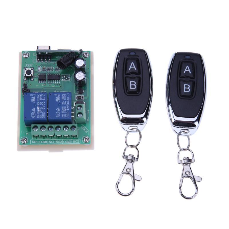 12В/24В 2-канальный реле беспроводной пульт дистанционного управления Переключатель 433 МГц + 2 шт. два ключа дистанционного управления для гаражных дверей освещение шторы